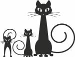 Muursticker poezen familie - Muurstickers