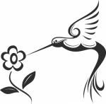 Muursticker kolibrie bloem - Muurstickers