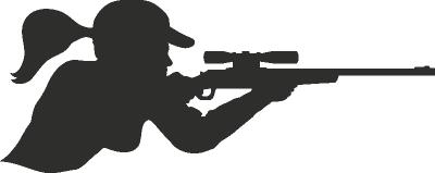 Muursticker vrouw met geweer -