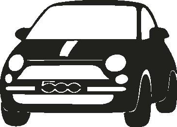 Muursticker Fiat 500 -