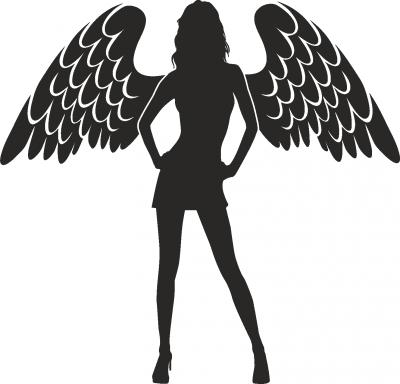 Muursticker vrouw met vleugels -