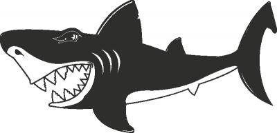 Muursticker gevaarlijke haai -