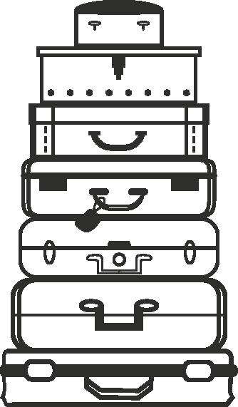 Muursticker koffers -