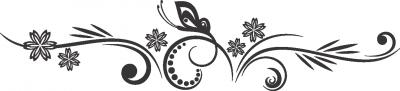 Muursticker bloem en vlinder -
