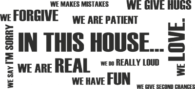 Tekststicker In this house -