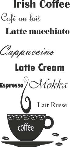 Tekststicker Koffie -