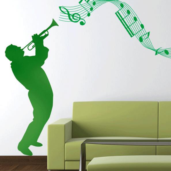 foto muursticker muziekbalk trompetist