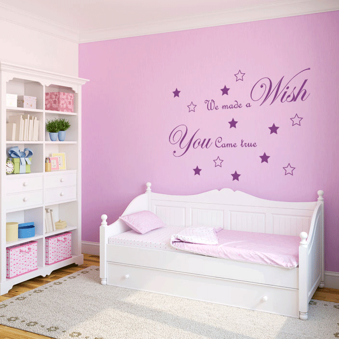 foto muursticker babykamer tekst a wish