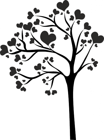 Muursticker boom met hartjes -