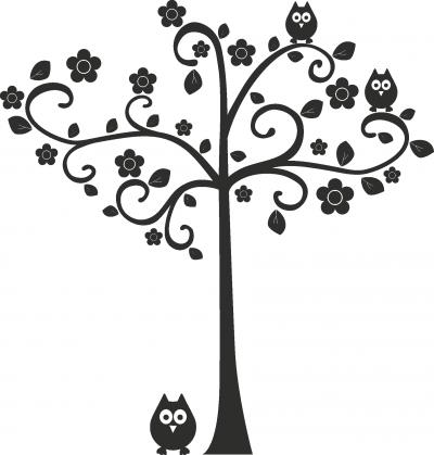 Muursticker boom met uil -
