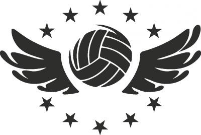 muursticker volleybal vleugel -