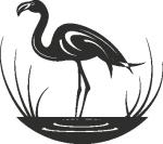 Muursticker flamingo in water - Muurstickers