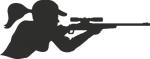 Muursticker vrouw met geweer - Muurstickers