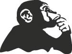Muursticker aap aan het denken - Muurstickers