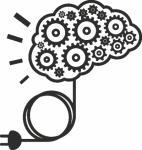 Muursticker hersens tandwielen - Muurstickers