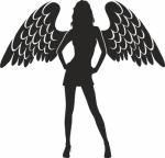 Muursticker vrouw met vleugels - Muurstickers