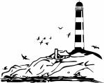 Muursticker zee en vuurtoren - Muurstickers