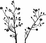 boom bloemen vlinders - Muurstickers