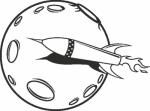 Muursticker raket maan - Muurstickers