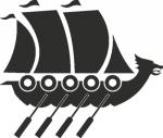 Muursticker schip viking - Muurstickers