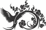 Muursticker duif met bloemen - Muurstickers