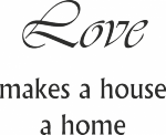 Tekststicker Love home - Muurstickers