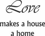Tekststicker Love home - Muurstickers