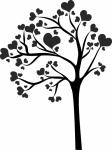 Muursticker boom met hartjes - Muurstickers