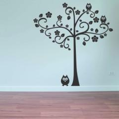 Muursticker boom met uil - Muurstickers