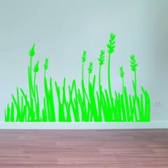 Muursticker gras met bloemen - Muurstickers